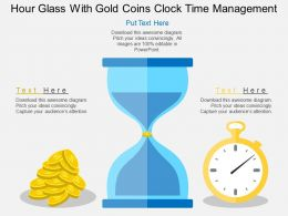 Hour Glass With Gold Coins Clock Time Management Flat Powerpoint Design