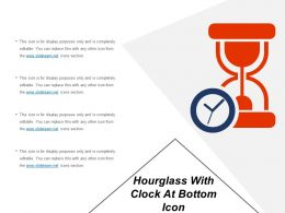Hourglass With Clock At Bottom Icon
