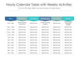 Hourly Calendar Table With Weekly Activities