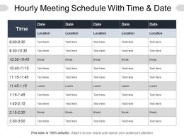 Hourly Meeting Schedule With Time And Date PPT Diagrams