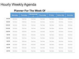 Hourly Weekly Agenda Powerpoint Slide Deck