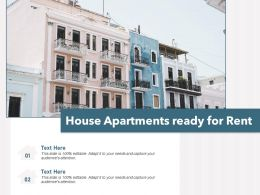 House Apartments Ready For Rent