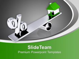 House Balancing On The Seesaw Powerpoint Templates PPT Backgrounds For Slides 0213