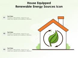 House Equipped Renewable Energy Sources Icon