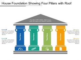 House Foundation Showing Four Pillars With Roof