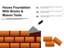 House Foundation With Bricks And Mason Tools