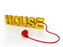 House Graphic With Red Plug Stock Photo