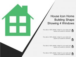 House Icon Home Building Shape Showing 4 Windows