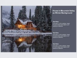 House In Mountain Valley As Winter Background