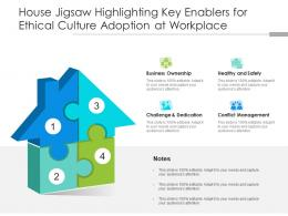 House Jigsaw Highlighting Key Enablers For Ethical Culture Adoption At Workplace