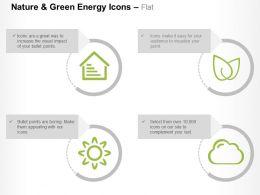 House Leaves Sun Cloud Four Nature Energy Symbols Ppt Icons Graphics