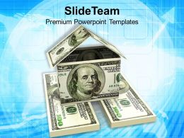 House Made From 100 Dollar Bills Powerpoint Templates Ppt Themes And Graphics