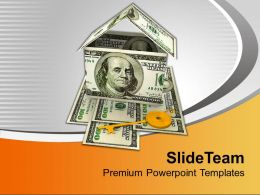 House Made With Dollar Bills Golden Key Powerpoint Templates Ppt Themes And Graphics 0213