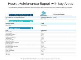 House Maintenance Report With Key Areas
