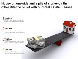 House On One Side And A Pile Of Money On The Other Bite The Bullet With Our Real Estate Finance
