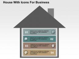 House With Icons For Business Flat Powerpoint Design