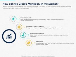 How Can We Create Monopoly In The Market Ppt Powerpoint Presentation Slides Format