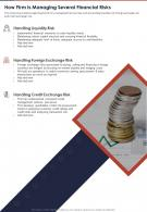 How Firm Is Managing Several Financial Risks Presentation Report Infographic PPT PDF Document