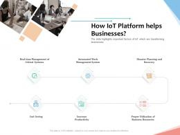 How IoT Platform Helps Businesses Internet Of Things IOT Overview Ppt Powerpoint Presentation Aids