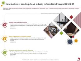 How Marketers Can Help Food Industry To Transform Through COVID 19 Community Building Ppt Infographics