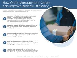 How Order Management System Can Improve Business Efficiency