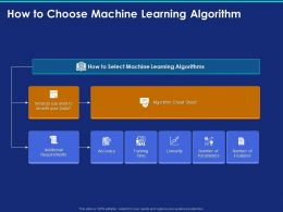 How To Choose Machine Learning Algorithm Ppt Powerpoint Presentation Show