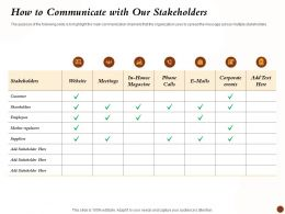 How To Communicate With Our Stakeholders Multiple Ppt Presentation Styles