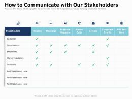 How To Communicate With Our Stakeholders Ppt Template Graphic Images