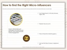 How To Find The Right Micro Influencers Research Top Ppt Powerpoint Presentation Backgrounds