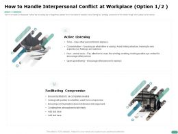 How To Handle Interpersonal Conflict At Workplace Option Compromise Ppt Powerpoint Presentation Deck