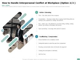 How To Handle Interpersonal Conflict At Workplace Option Eye Contact Ppt Powerpoint Presentation Styles