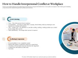 How To Handle Interpersonal Conflict At Workplace Ppt Picture