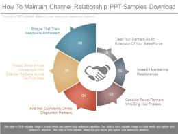 How To Maintain Channel Relationship Ppt Samples Download