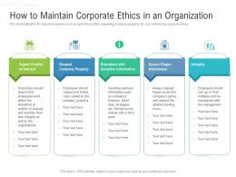 How To Maintain Corporate Ethics In An Organization