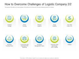 How To Overcome Challenges Of Logistic Company Exception Logistics Management Optimization Ppt Slide