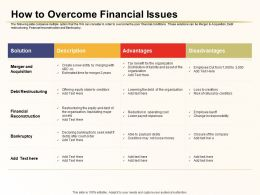 How To Overcome Financial Issues Debt Restructuring Ppt Inspiration