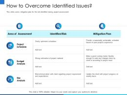 How To Overcome Identified Issues Cater Any Ppt Powerpoint Presentation Outline Themes