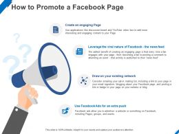 How To Promote A Facebook Page Ppt Powerpoint Presentation Portfolio Example Topics