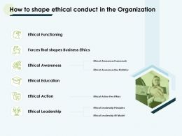 How To Shape Ethical Conduct In The Organization Functioning Ppt Slides