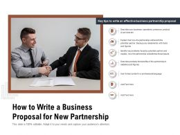 How To Write A Business Proposal For New Partnership