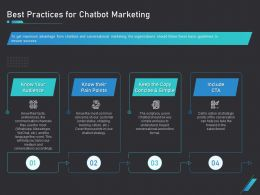 How Use Bots Your Business Marketing Best Practices For Chatbot Marketing Ppt Visual Aids
