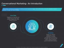 How Use Bots Your Business Marketing Conversational Marketing An Introduction Ppt Summary
