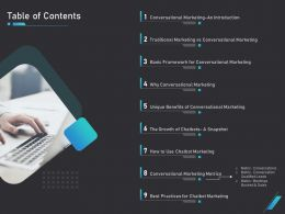 How Use Bots Your Business Marketing Table Of Contents Ppt Powerpoint Presentation File Slides