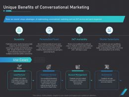 How Use Bots Your Business Marketing Unique Benefits Of Conversational Marketing Ppt Samples