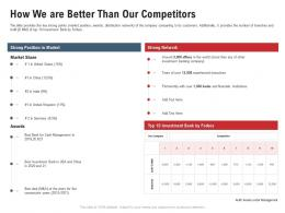 How We Are Better Than Our Competitors Pitchbook For Acquisition Deal Ppt Summary
