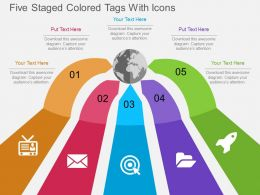 Hp Five Staged Colored Tags With Icons Flat Powerpoint Design