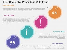 Hp Four Sequential Paper Tags With Icons Flat Powerpoint Design