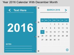 Hp Year 2016 Calendar With December Month Flat Powerpoint Design