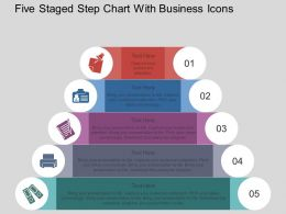 Hq Five Staged Step Chart With Business Icons Flat Powerpoint Design