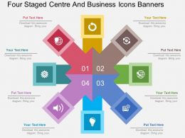 Hq Four Staged Centre And Business Icons Banners Flat Powerpoint Design